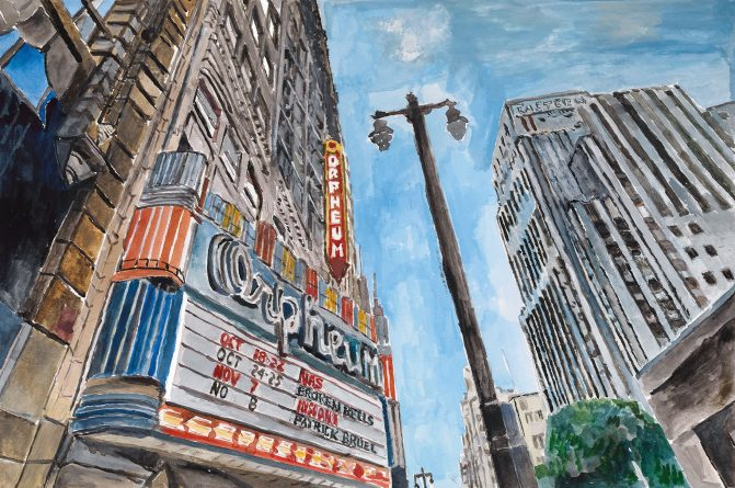 Театр, Центр LA, 2015–2016. Акриловые краски, холст, 139.7 x 213.4 см | 55 x 84 дюймов Подписана